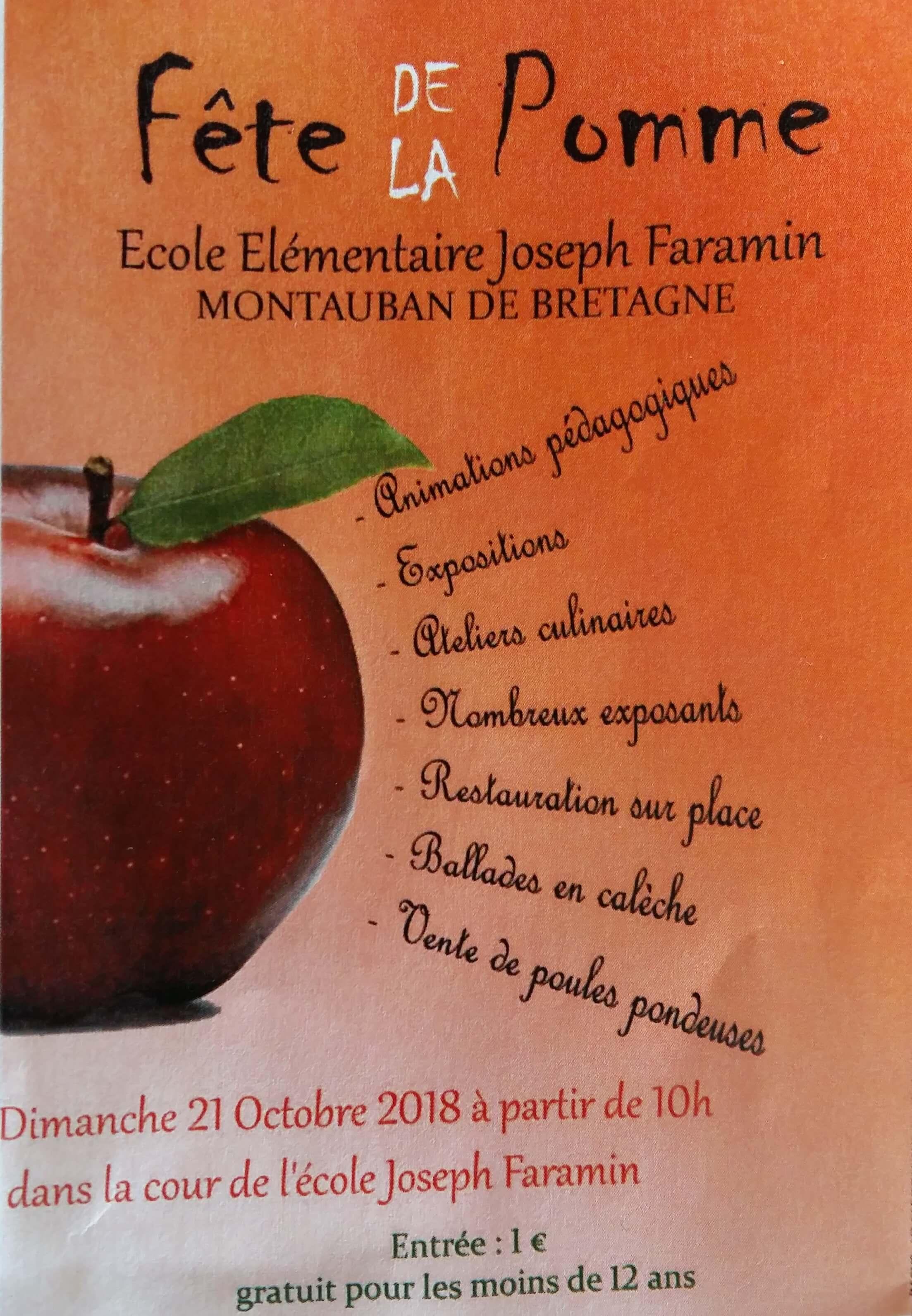 Affiche de la fête de la pomme de montauban de bretagne